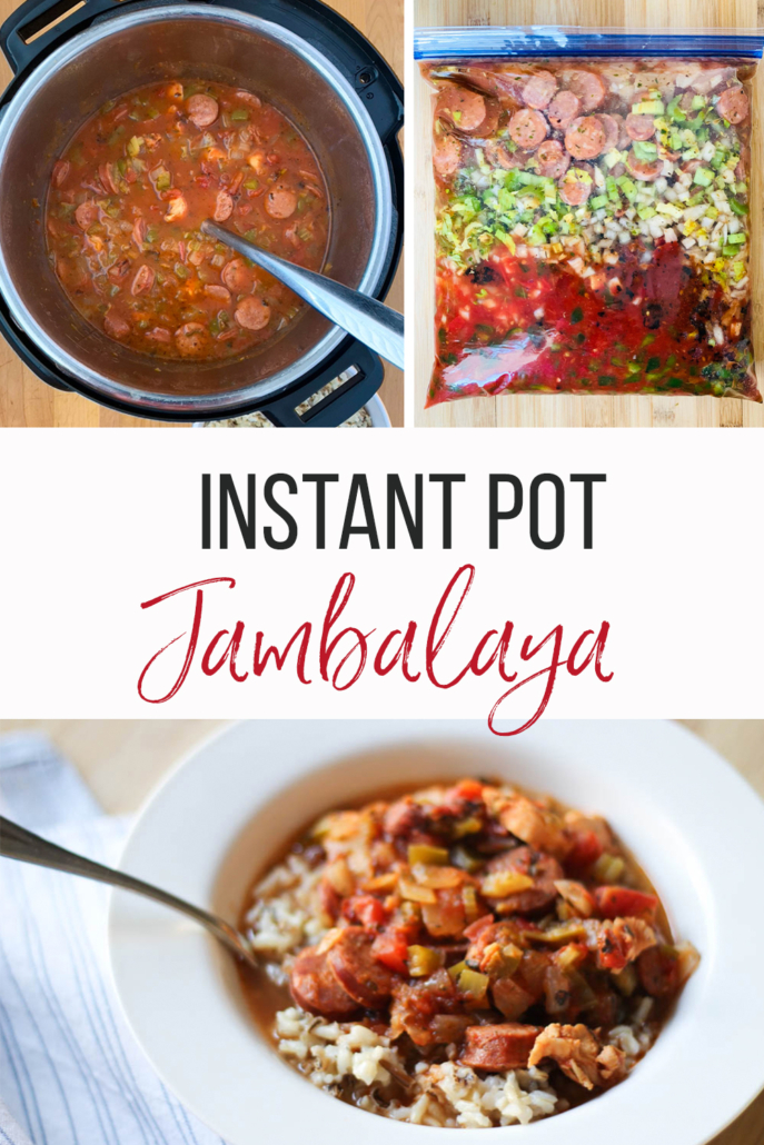 multi image with instant pot jambalaya in a bowl, in a freezer bag and in the Instant Pot