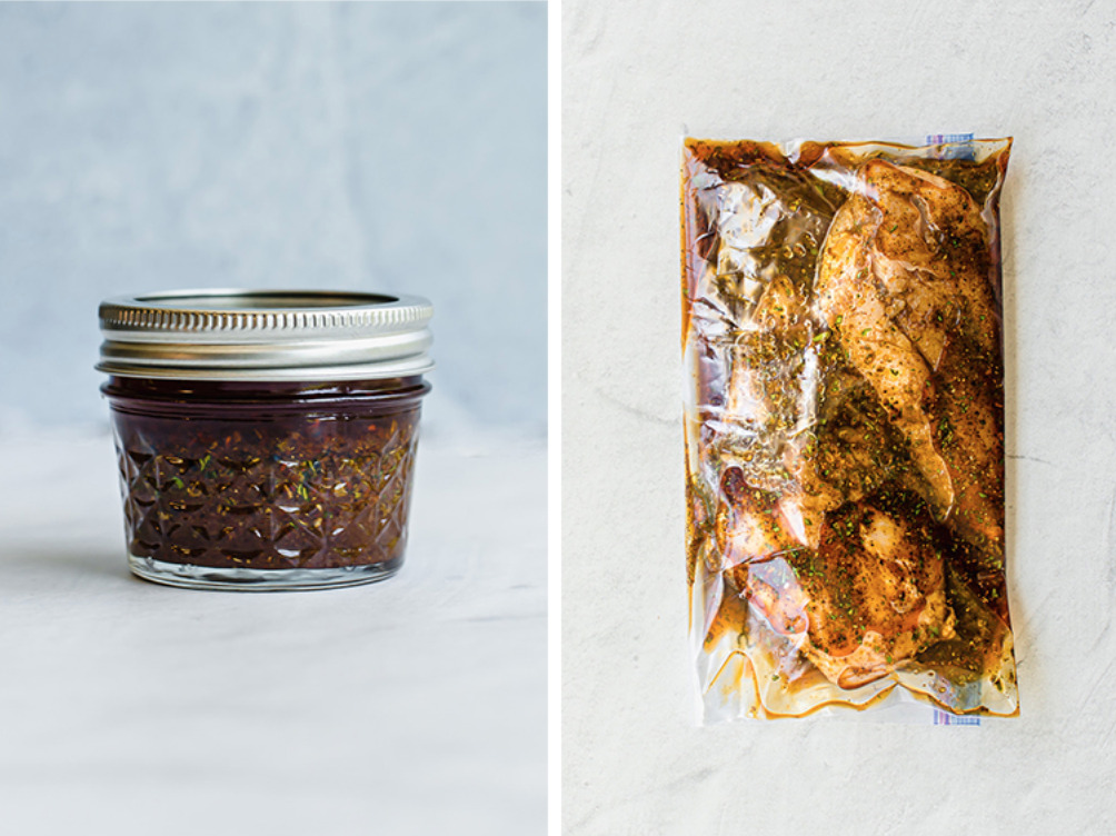 Southwest Chicken Marinade in a jar and in a freezer bag with chicken.
