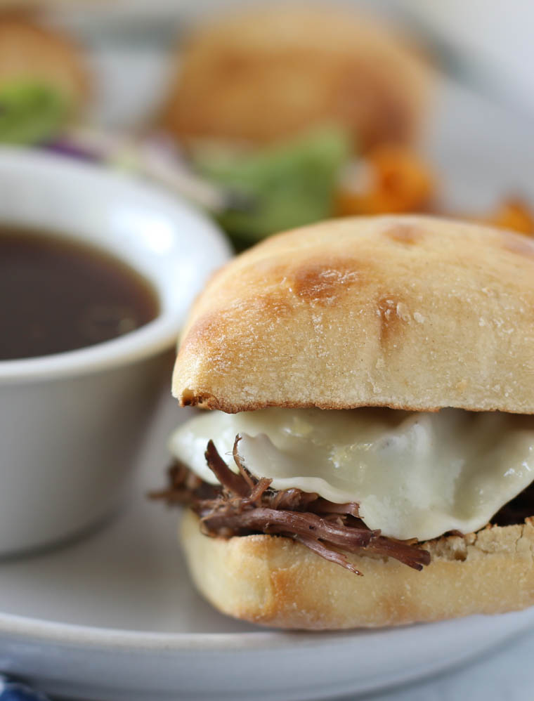 Close up of french dip sandwich