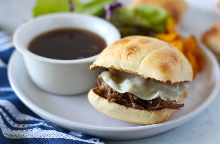 Instant Pot French Dip Sandwich on a white plate