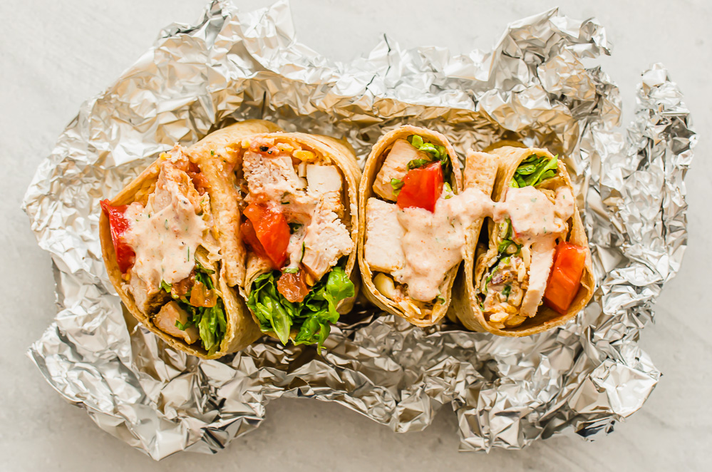 Southwest chicken wraps cut open and face up