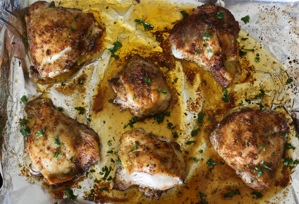 Italian Baked Chicken Thighs cooked