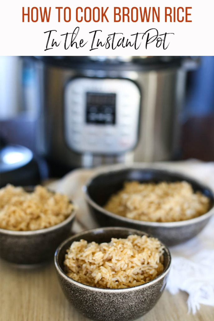 Cooked Instant Pot brown rice in bowls