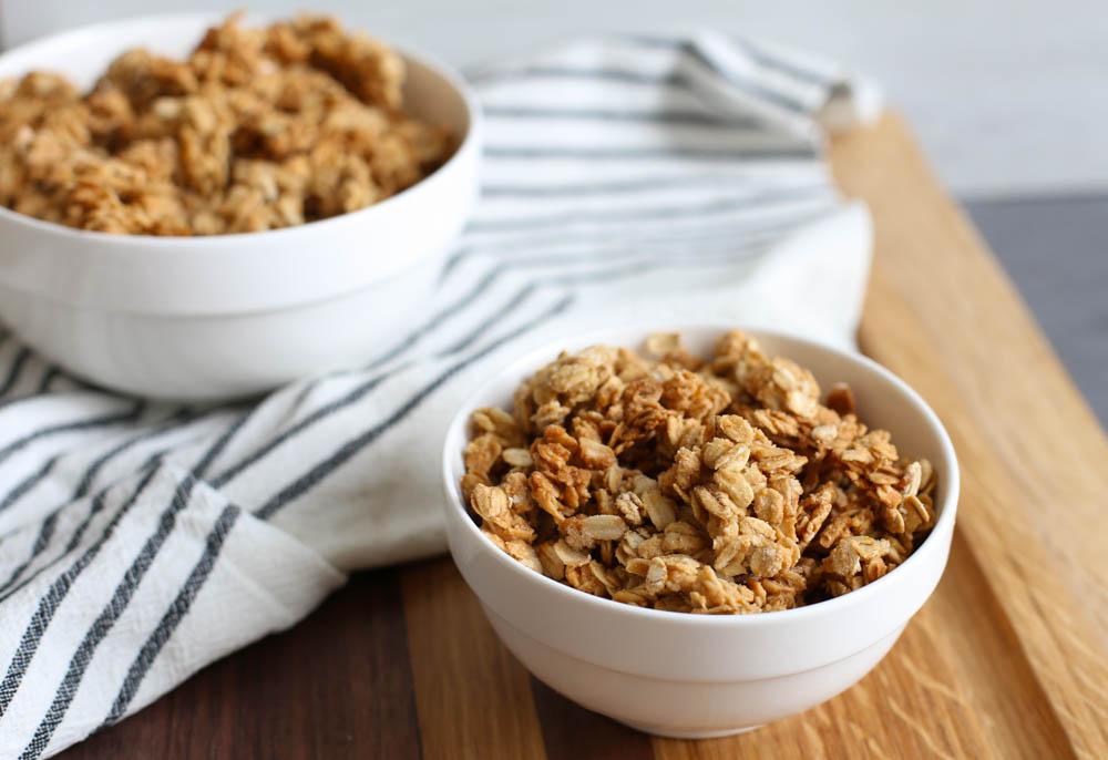 Homemade granola in a white bowl