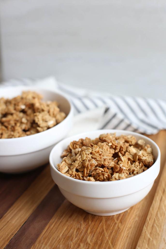 Simple granola in a white bowl