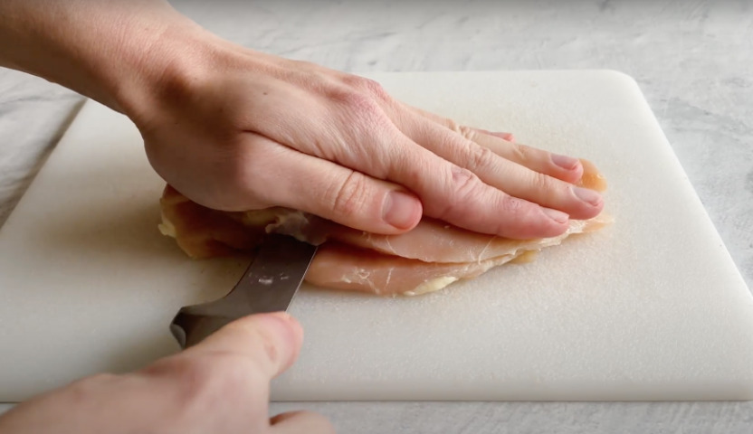 Slicing a chicken breast lengthwise