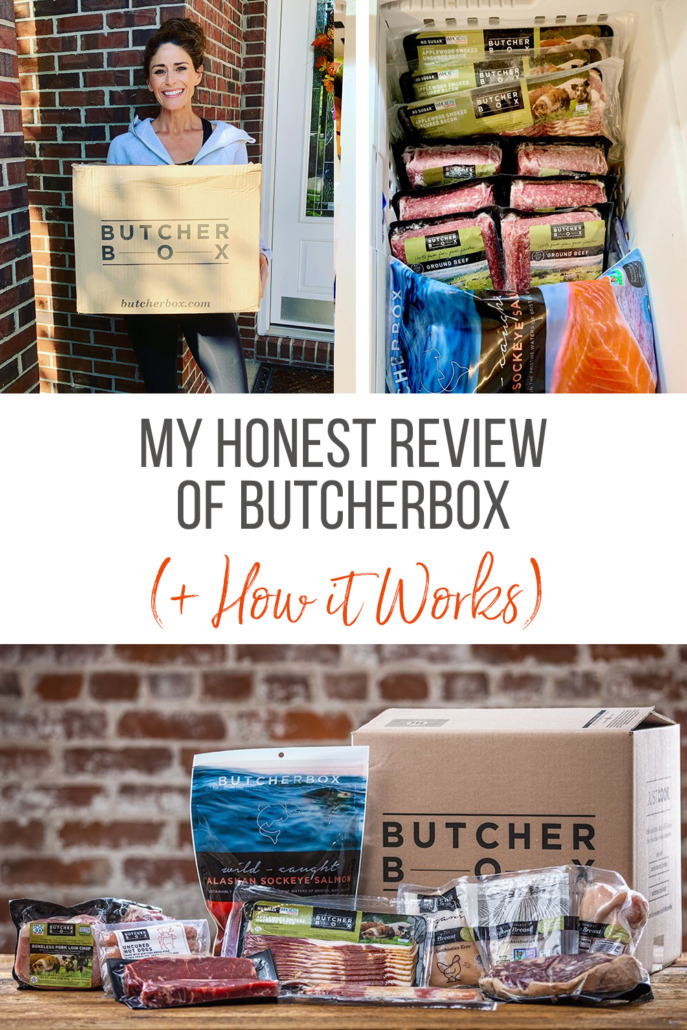 A collage image of a woman holding ButcherBox, a freezer full of ButcherBox meat, and a box and products on a counter.
