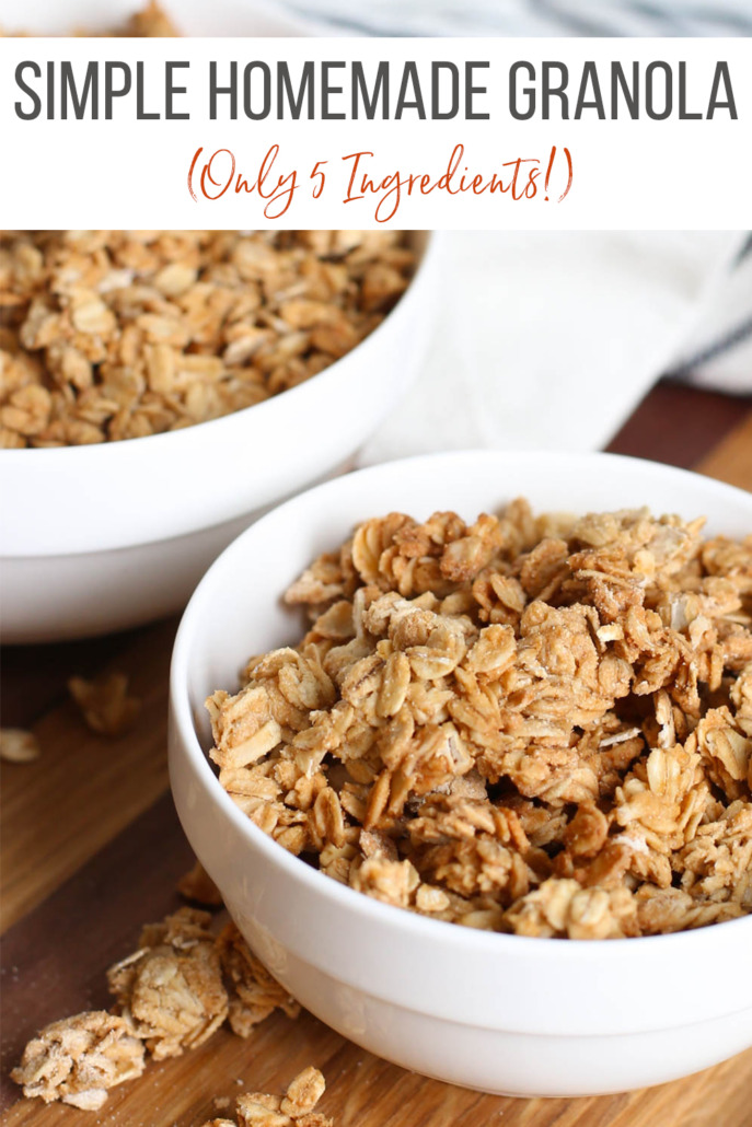Simple homemade granola in white bowls