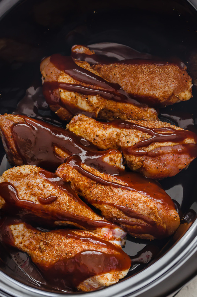 BBQ chicken in the slow cooker