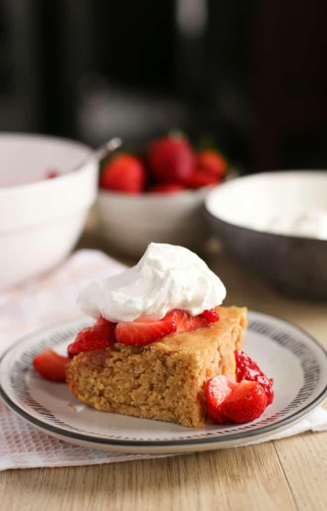 A slice of healthy strawberry shortcake