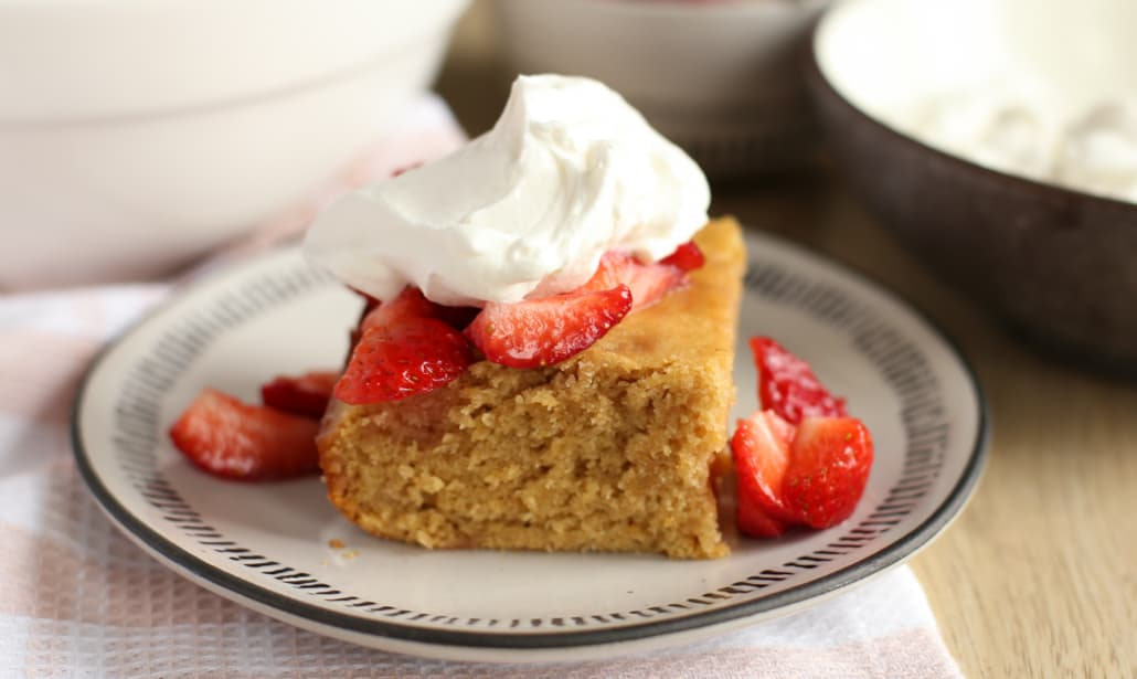 Healthy strawberry shortcake on a plate