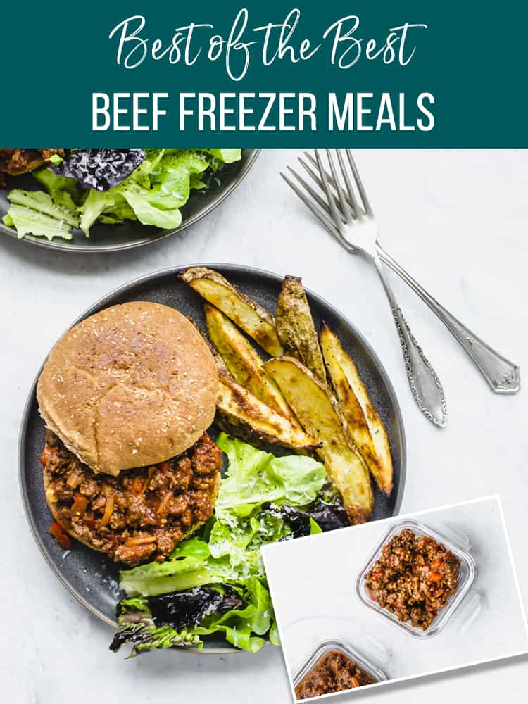 Sloppy joes on a plate with image of how to freeze it