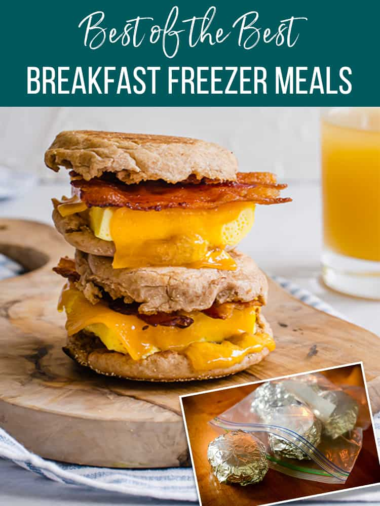 Breakfast sandwich stacked with an option of how to freeze it