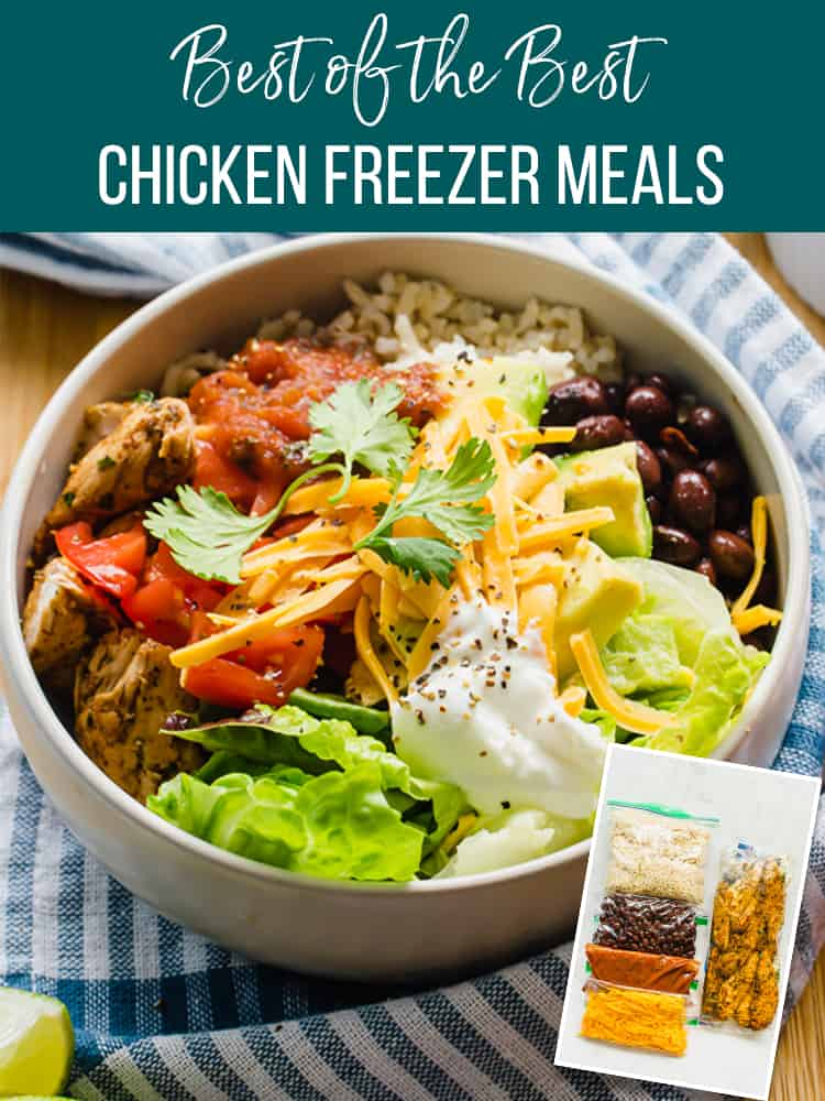 Best of the Best chicken freezer meals: picture of a chicken burrito bowl with a freezer meal version