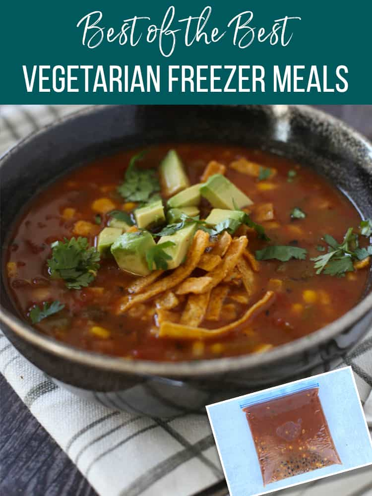 Tortilla soup in a bowl and a picture of it as a freezer meal