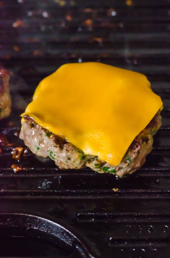 a cheeseburger on a grill