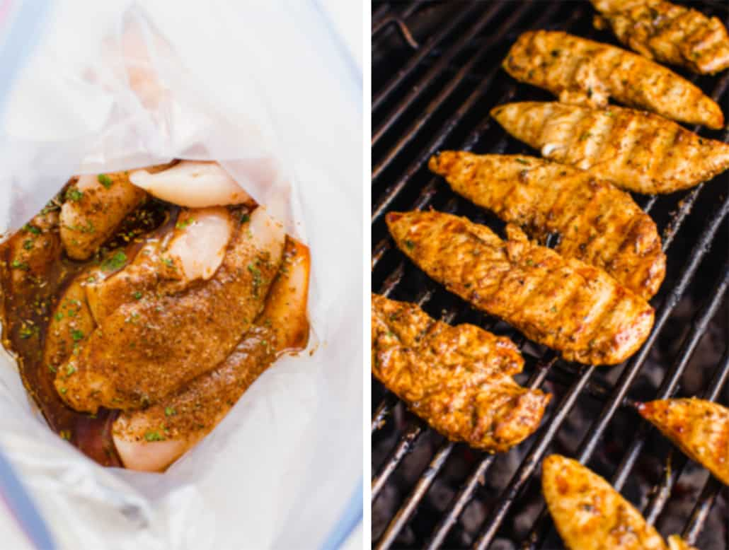 freezer friendly chicken tenders in a bag and on the grill