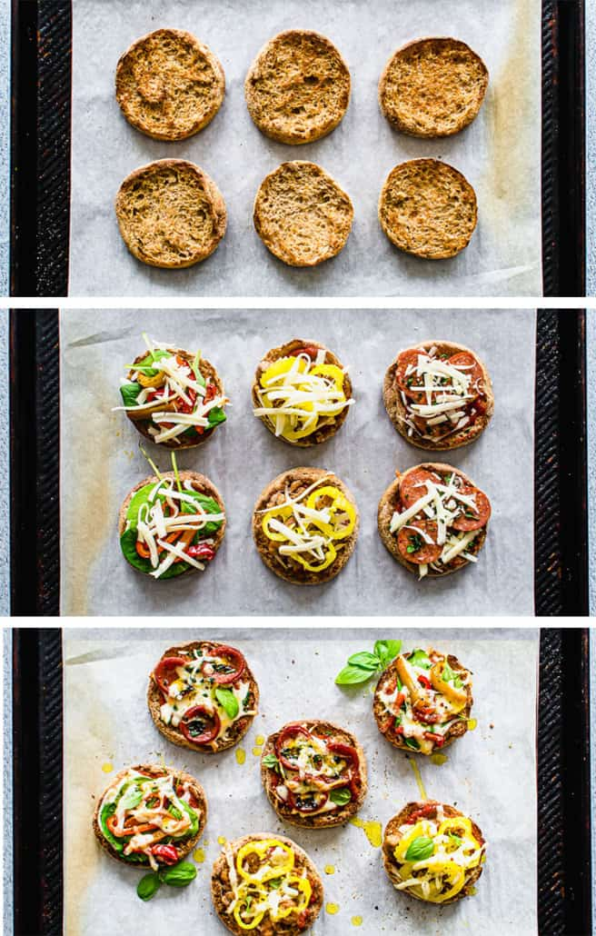 Stages of making english muffin pizzas