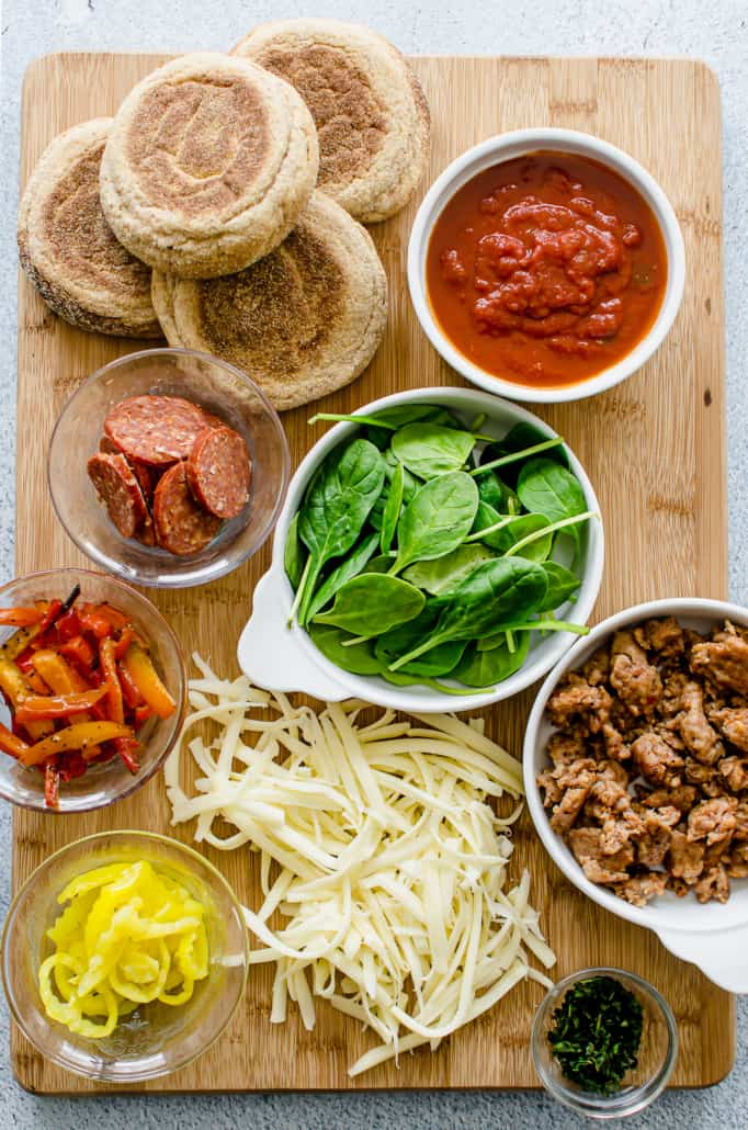 Ingredients for English Muffin Pizzas