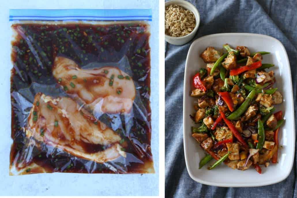 Side by side image of honey bourbon chicken freezer meal and meal cooked as fresh
