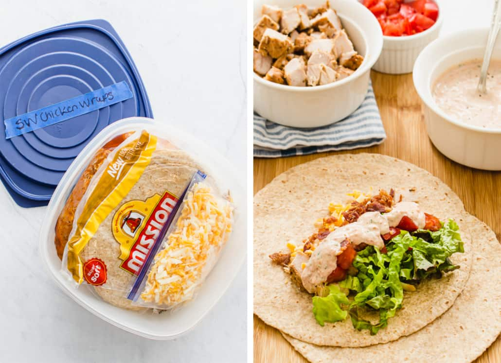 Side by side image of southwest chicken bacon wraps as a freezer meal and cooked as fresh