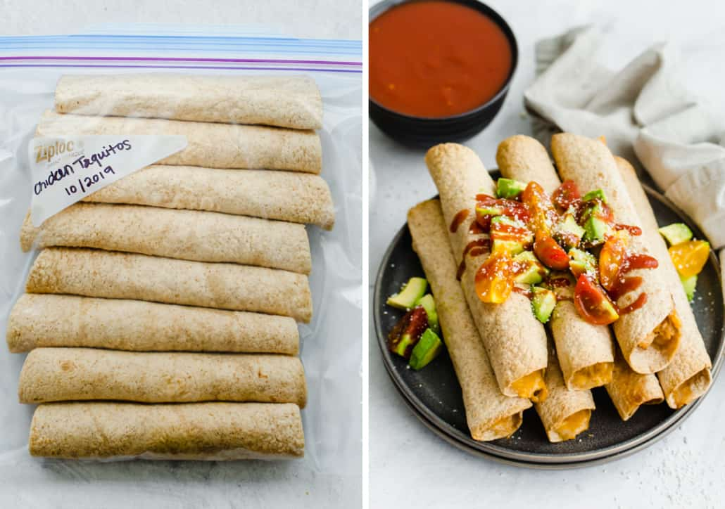 side by side image of chicken taquitos in a freezer bag and picture of them cooked fresh