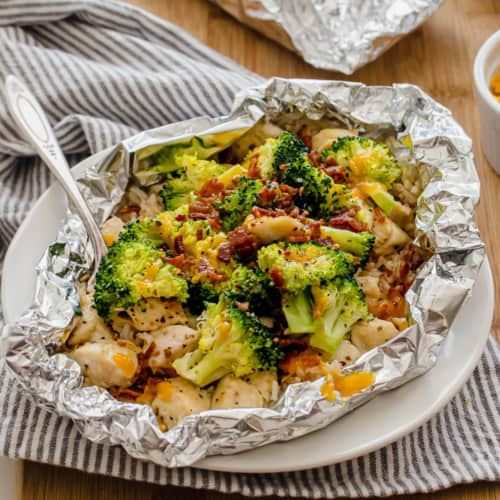 chicken foil packet with broccoli, bacon, and rice