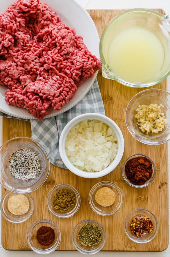 Ingredients for taco meat