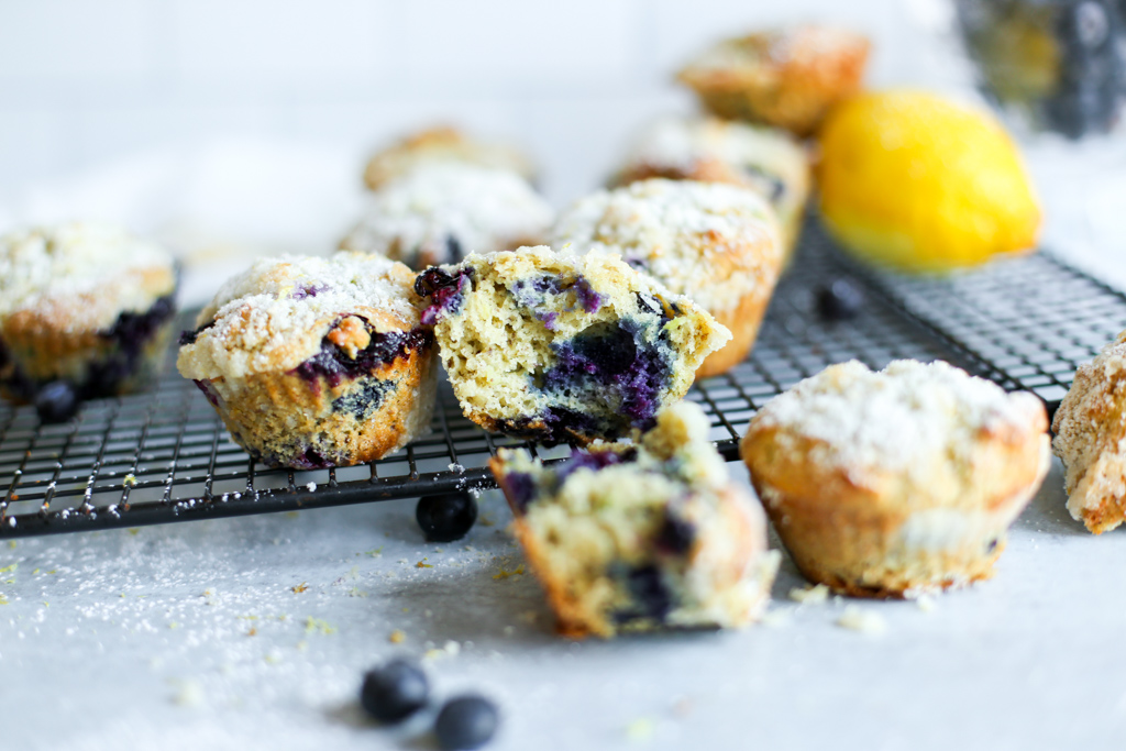 Close up of a healthy blueberry muffin split open