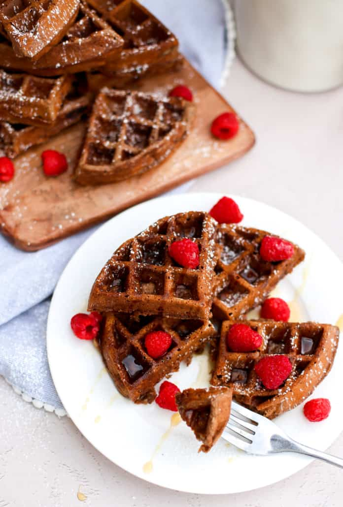 Chocolate waffles on a white plate
