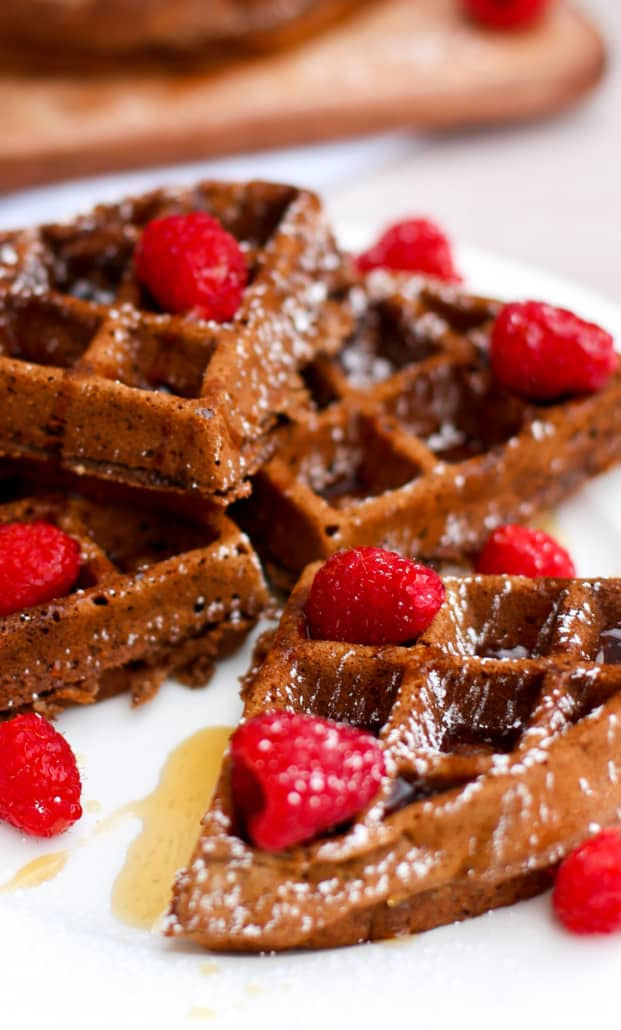 Close up of healthy chocolate waffles that are topped with raspberries and powdered sugar