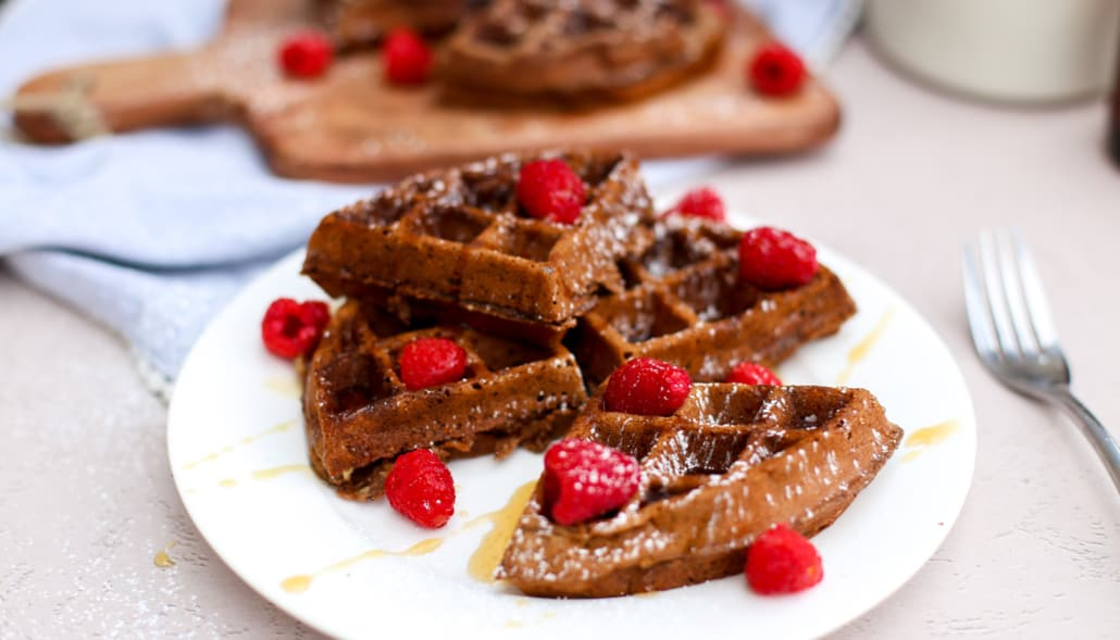 Chocolate waffles broken up and stacked