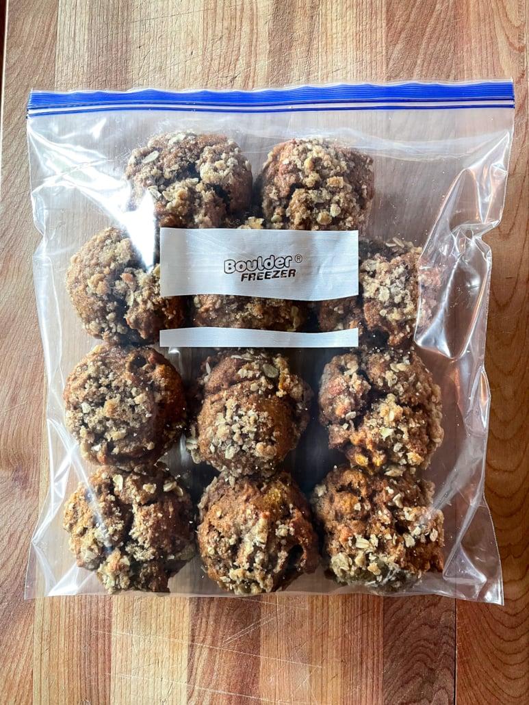 pumpking muffins in a freezer bag