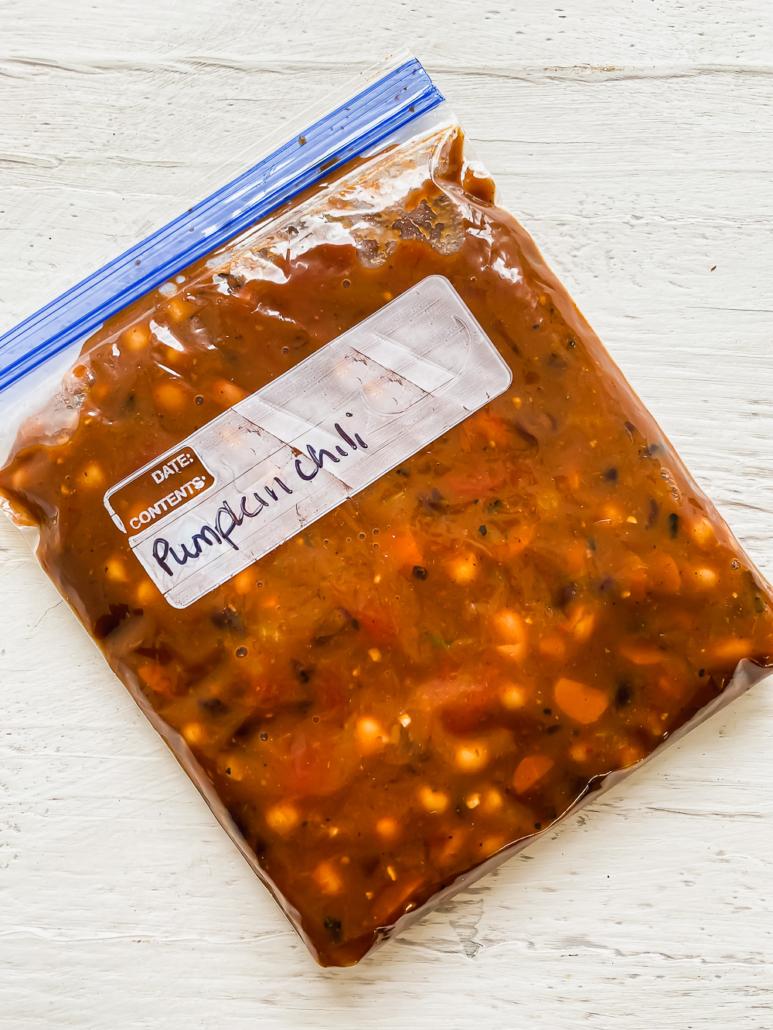 a freezer bag filled with pumpkin chili