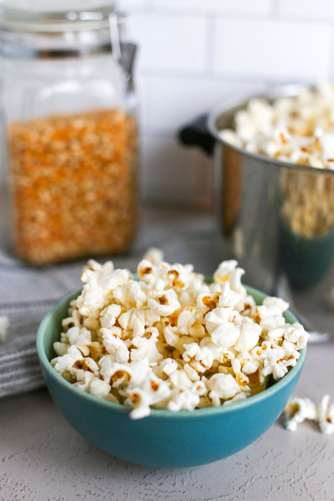 homemade coconut oil popcorn in a blue bowl