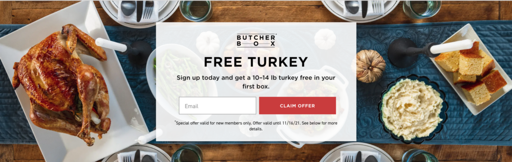 Screenshot of the latest promotion of a Free Turkey when you sign up.